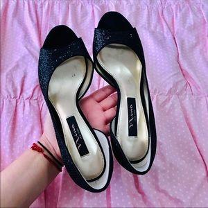 Nina New York Black Glitter Heels